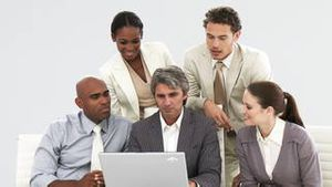United business team working at a laptop