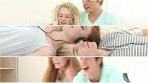 Loving couples of teenagers relaxing
