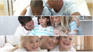Video panel of attentive parents having fun with their children