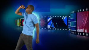 Animation of an attractive man singing
