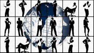 Animation of silhouettes showing business concept