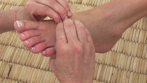 Close up of a professional foot massage