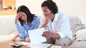 Young couple having financial troubles