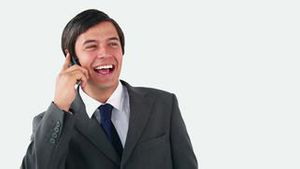 Happy executive talking on the phone