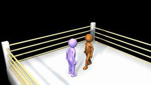 3D men fighting on a boxing ring
