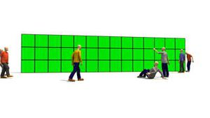 3D men in front of a green screens