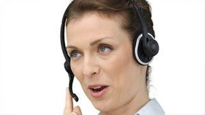 Business woman using a headset