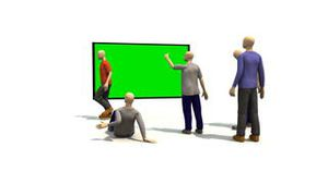 3D men presenting green screen