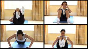 Stock animation of a woman doing fitness exercises