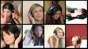 Stock animation of delighted women listening music