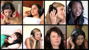 Stock animation of diverse women listening music