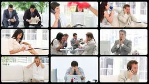 Montage presenting stressed people at work