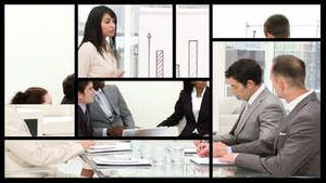 Animation of business people at a presentation in a company
