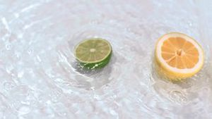 Fruit turning in water in super slow motion
