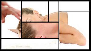 Montage presenting a relaxed woman having spa treatments