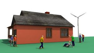 3D animation presenting the wind energy