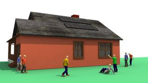 3D animation showing the concept of solar energy