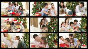 3D animation of families celebrating Christmas