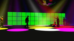 3D animation of a green screen with a disco ball