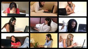 3D animation of relaxed women using laptop