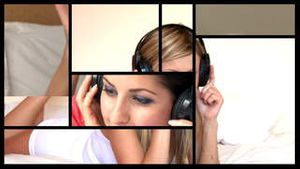 Montage of 3 peaceful women listening music