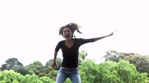 Woman jumping in slow motion