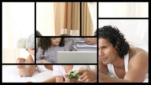 Stock animation of families relaxing at home