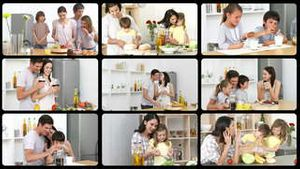Montage of lively families in the kitchen