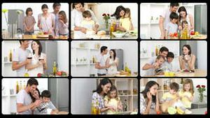 Montage of happy families in the kitchen
