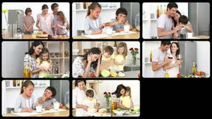Montage of adorable families in the kitchen