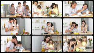 Montage of caucasian families in the kitchen