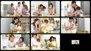 Montage of jolly families in the kitchen