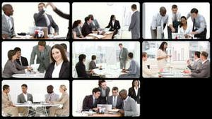 Montage presenting business people at work