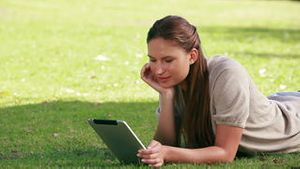 Woman using an eBook reader