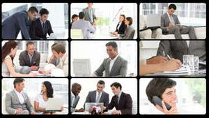 Montage presenting the concept of men in busines