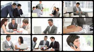 Montage presenting men in business