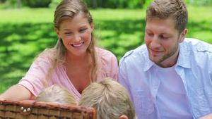 Two children reach into a picnic basket while sitting in the grass with their parents