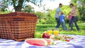 Family jumping in a cirlcle in the background with a platter on a picnic basket in the foreground