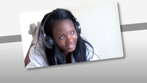 Montage on young woman listening music at home