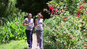 Couple being out of breath after running