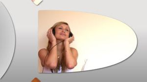 Montage of relaxed women listening music at home