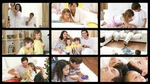 Montage of jolly families playing at home