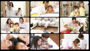 Montage of happy families playing at home