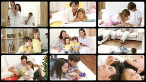 Montage of cheerful families playing at home