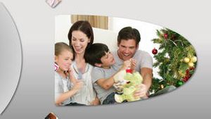 Cheerful families at Christmas time