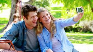 Couple taking funny picture