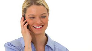 Blonde woman talking on the phone