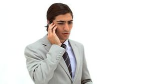 A businessman on the phone
