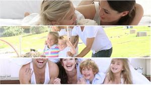 Montage of happy families having fun