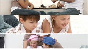 Animation of parents and children playing together